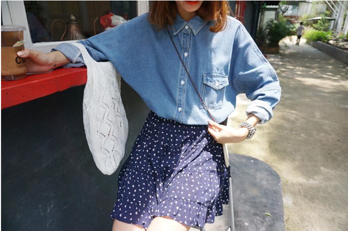 03 [elina sea]韓國 官網推薦秋季必備單口袋小寬松長袖做舊牛仔襯衫