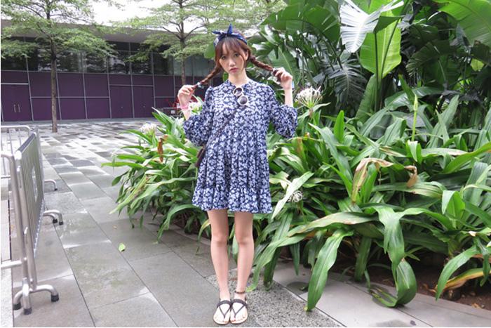 01 「莫比」韓國 複古小清新碎花葉子系帶寬松長袖層層蛋糕連衣裙