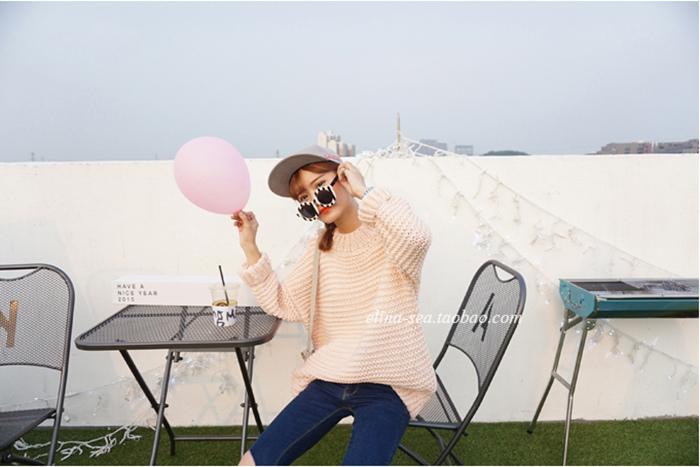 07 [elina sea]店主推薦 韓國秋季新品粗棒針小波浪紋路圓領套頭毛衣