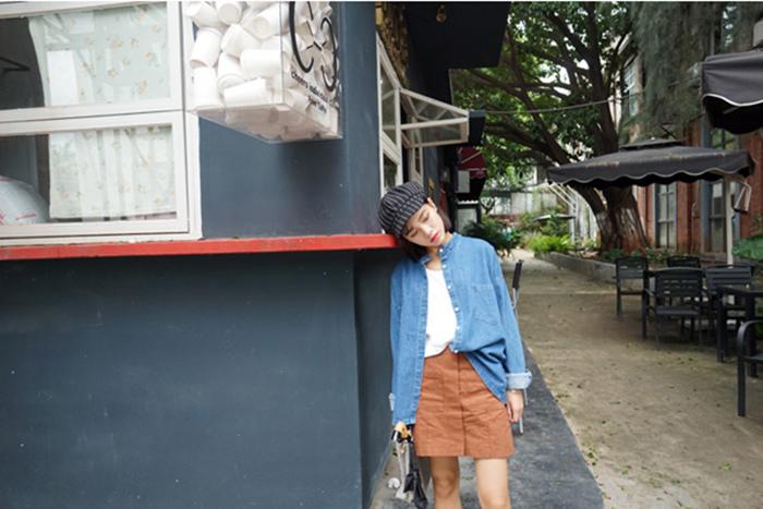 14 瘦竹竿 15秋 韓國訂單 立領大口袋 可以當外套的寬松休閑牛仔襯衫