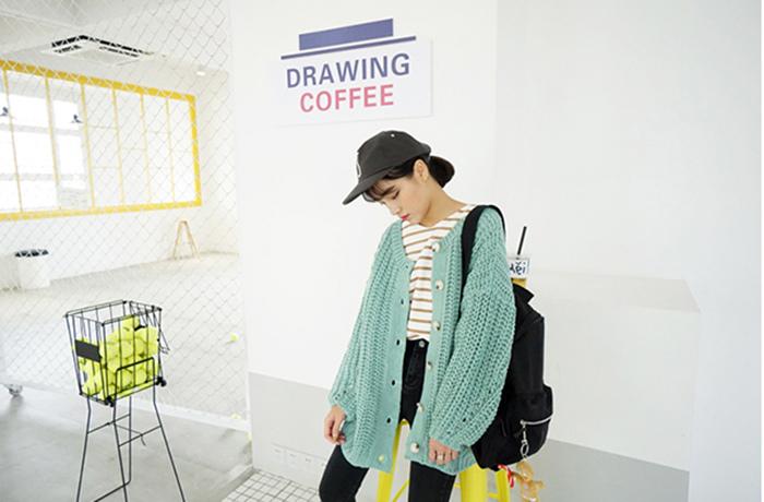 17 瘦竹竿 推薦!韓國 超溫暖厚實洋氣粗針小鏤空寬松大毛衣開衫外套