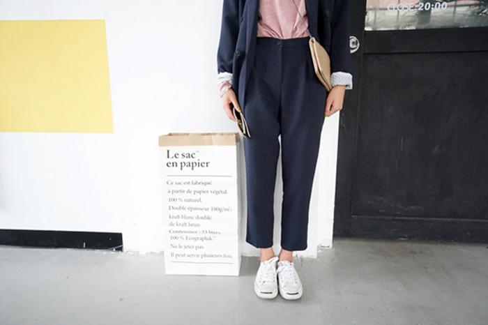 15 瘦竹竿 15秋 韓國 極簡好版型 通勤一粒扣顯瘦休閑基礎小西褲