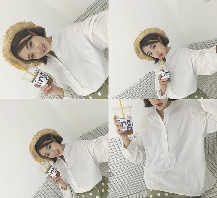 24 馨幫幫 馨幫幫自制款2015秋裝新款氣質百搭白色襯衫小V立領長袖衫女襯衣