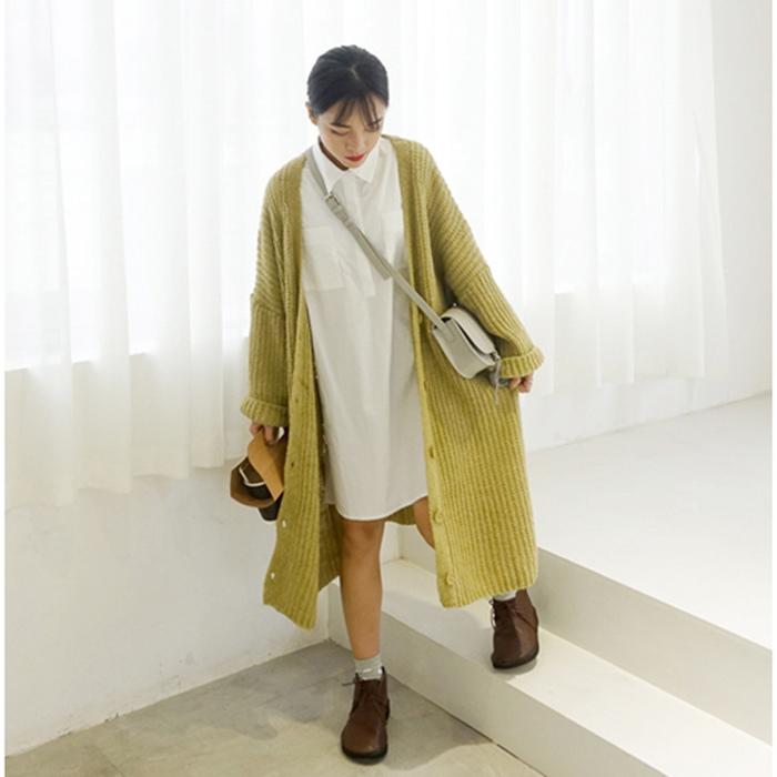 28 馨幫幫 韓國時尚純色百搭大毛線外套韓版寬松單排扣中長款針織開衫女毛衣