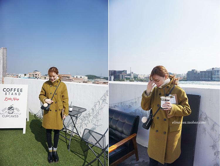 01 [elina sea]獨家定制 韓國雙排扣多口袋氣質百搭耳仔毛呢外套