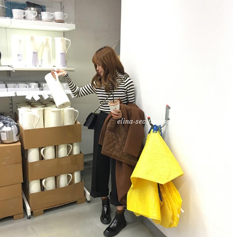 02 [elina sea]韓國訂單 不規則撞色條紋高領長袖套頭打底針織衫
