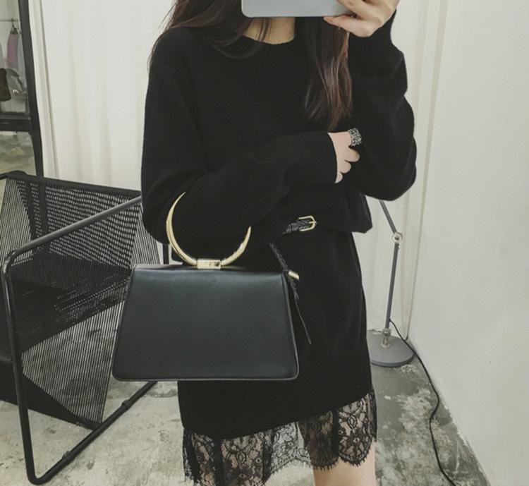 06 MissTing定制韓國秋冬女裝氣質拼接蕾絲寬松顯瘦中長款針織衫