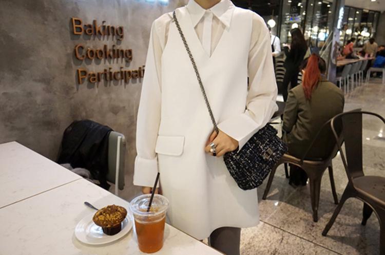 10 瘦竹竿2016早春 韓國隨性風氣質尖領微透視沙沙質感馬麻料白襯衫