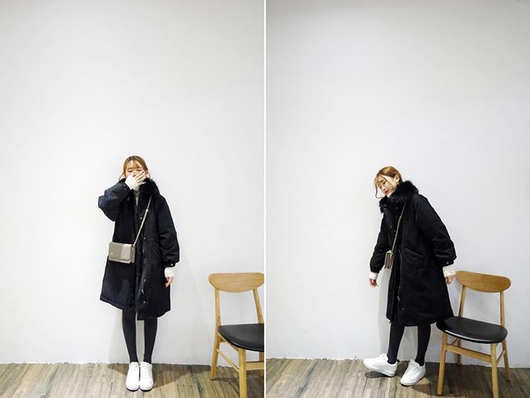 11 瘦竹竿2015冬韓國可拆真毛領溫暖厚實抽繩收腰中長款工裝棉衣棉服