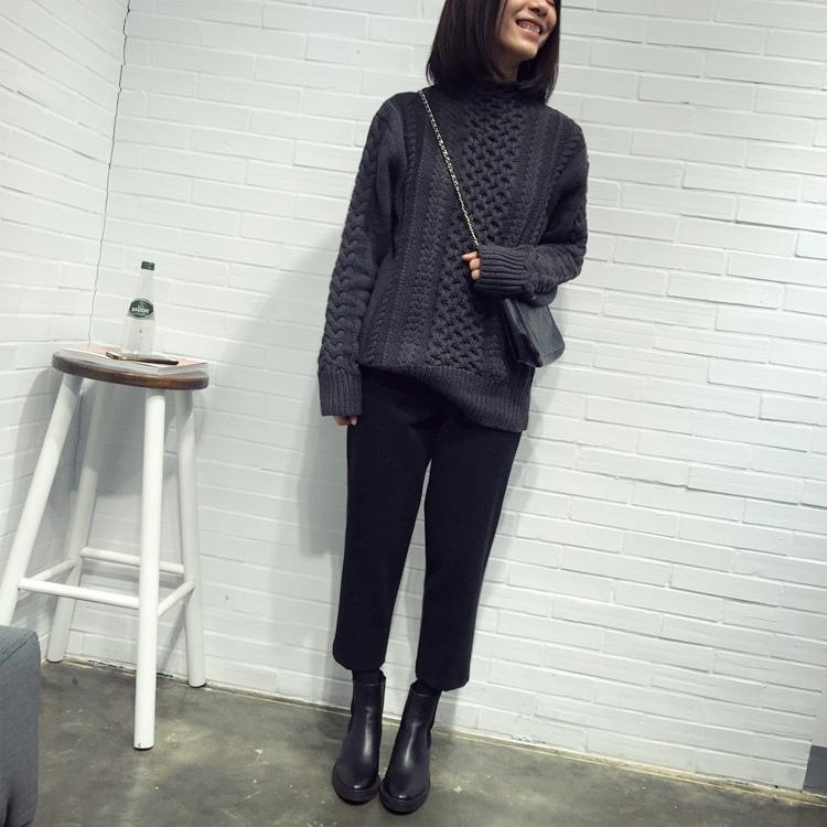 20 湯圓是賣衣服的 腿像筷子一樣了!配靴子最佳的呢料八分褲秋冬厚實哈倫褲