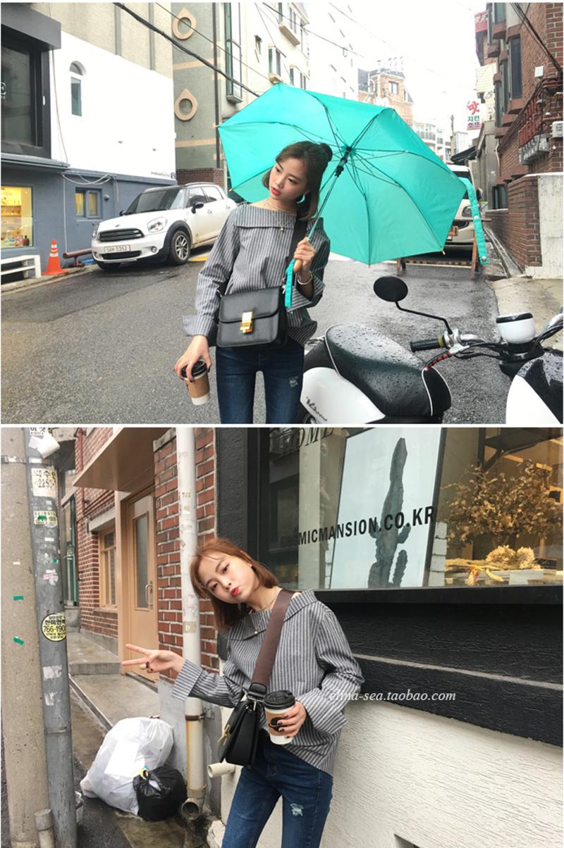 [elina sea]自制推薦 韓國氣質簡潔一字領百搭豎條紋長袖套頭襯衫