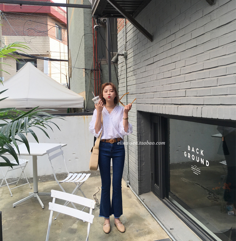[elina sea]韓國訂單 春季簡約巨顯瘦休閑百搭褲腳撕邊牛仔喇叭褲