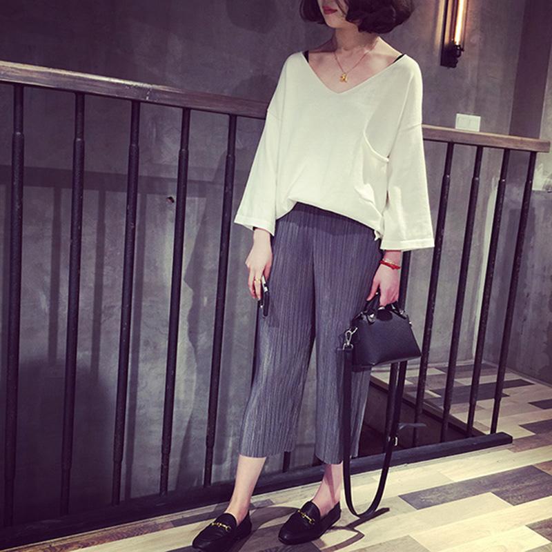 A7SEVEN 2016春裝歐美寬松慵懶V領口袋薄款針織衫女休閑套頭線衫
