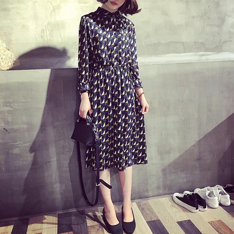 A7SEVEN 韓版氣質幾何寬松顯瘦小立領襯衫袖雪紡連衣裙女打底長裙