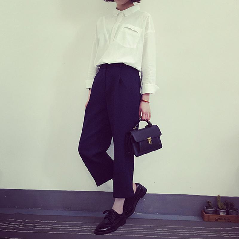 A7SEVEN 韓國洋氣複合太空棉寬松顯瘦哈倫褲女高腰休閑九分西裝褲