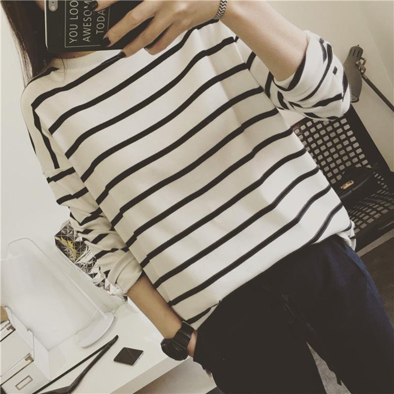 JUST Q 獨家百搭 萬年經典款 韓國洋氣條紋小開叉圓領長袖T恤衫