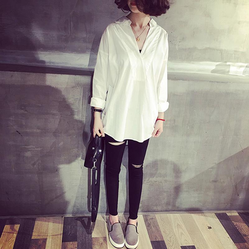 A7seven韓國氣質百搭寬松大V領純色棉質套頭七分袖襯衫女休閑襯衣