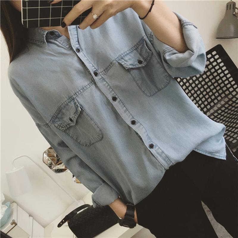 JUST Q自留款 必入 韓國工廠貨 超洋氣淡藍色 水洗棉柔軟寬松口袋襯衫