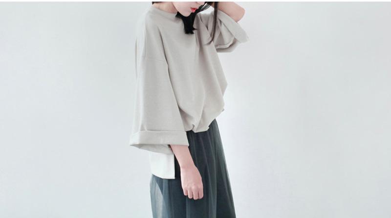LILI STORE 春裝新品 簡約日式 寬松袖開叉純色 厚款套頭T恤