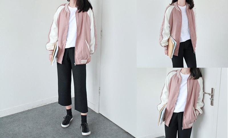 LILI STORE 優質 韓風青春學院 拼色條紋邊休閑短外套夾克 棒球服 春裝新款女