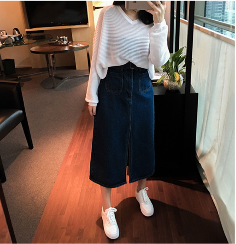 MissTing2016春季新款韓版高腰顯瘦A字裙簡約個性開叉中長款牛仔半身裙715