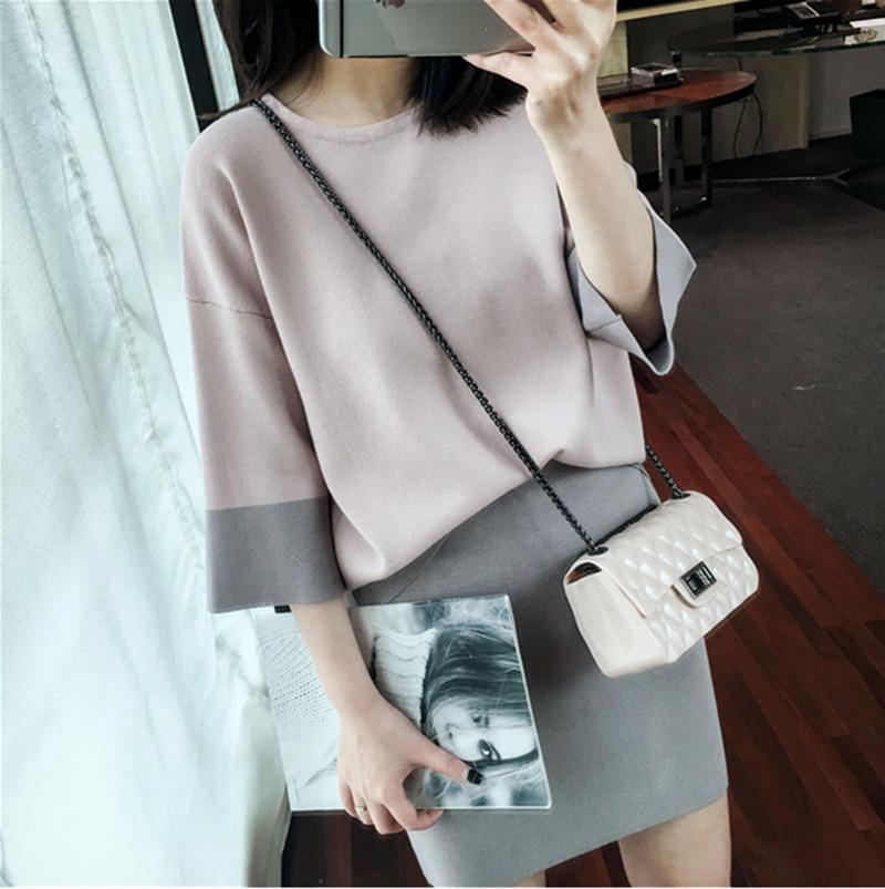 MissTing定制韓版寬松顯瘦撞色針織上衣+包臀短裙套裝兩件套 3114