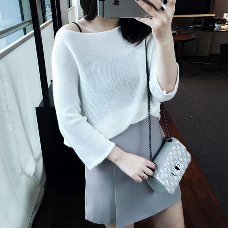 MissTing定制韓國春季新款短袖純色簡約百搭寬松針織衫女 3801