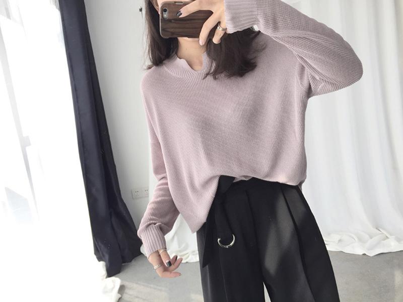 yeah! 16春夏新款 簡約寬松薄款小V領純色針織衫毛衫空調衫