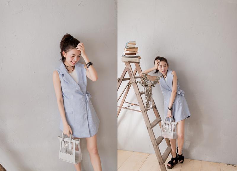HARU's fashion 時尚條紋西裝背心綁帶洋裝