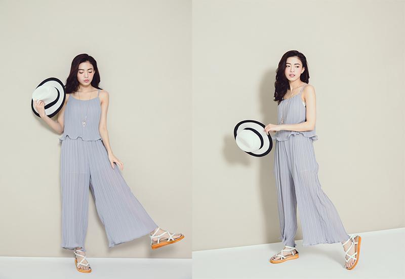 HARU's fashion 細百褶雪紡連身褲