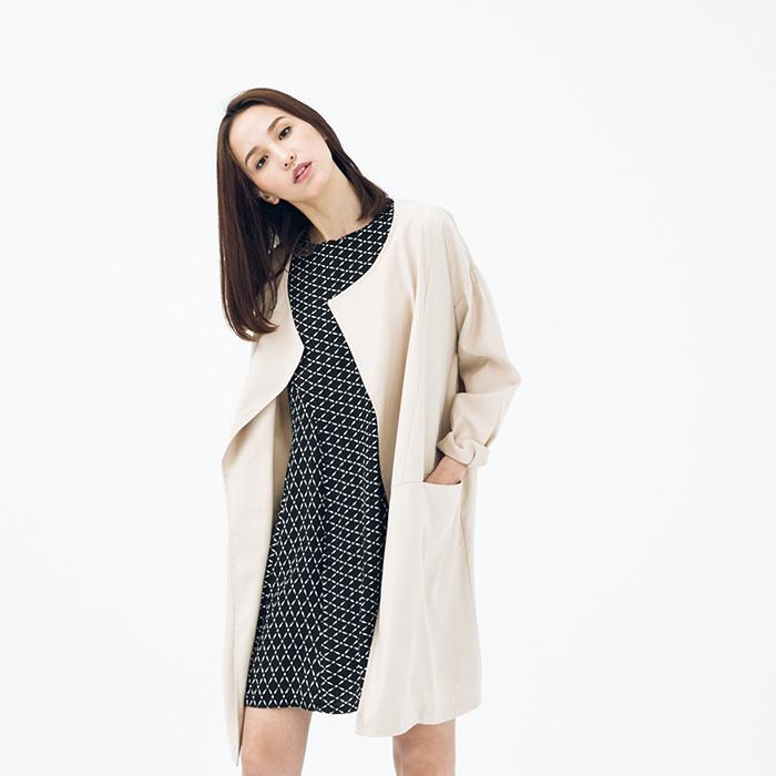 A LADY 文藝幾何美學印花拼接短袖洋裝