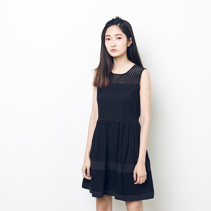 A LADY 優雅可人唯美緹花拼接雪紡洋裝