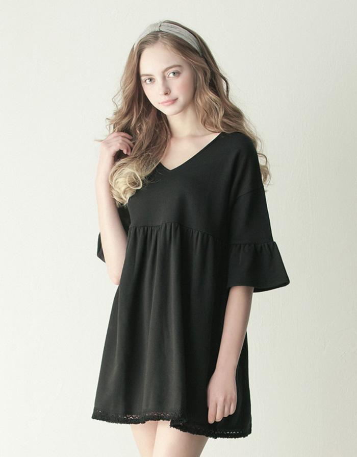 LOVFEE MIT 春漾輕甜荷葉袖流蘇洋裝