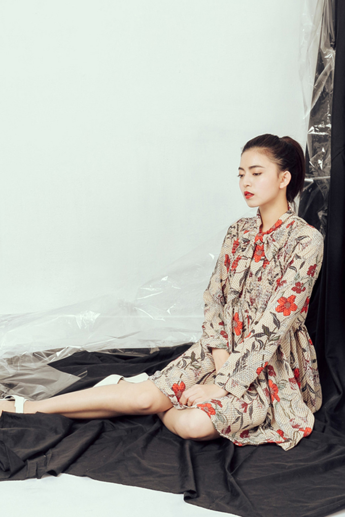 ORENDA 韓系滿版碎花綁帶洋裝