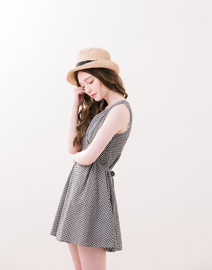 PAZZO 夏日格紋無袖洋裝