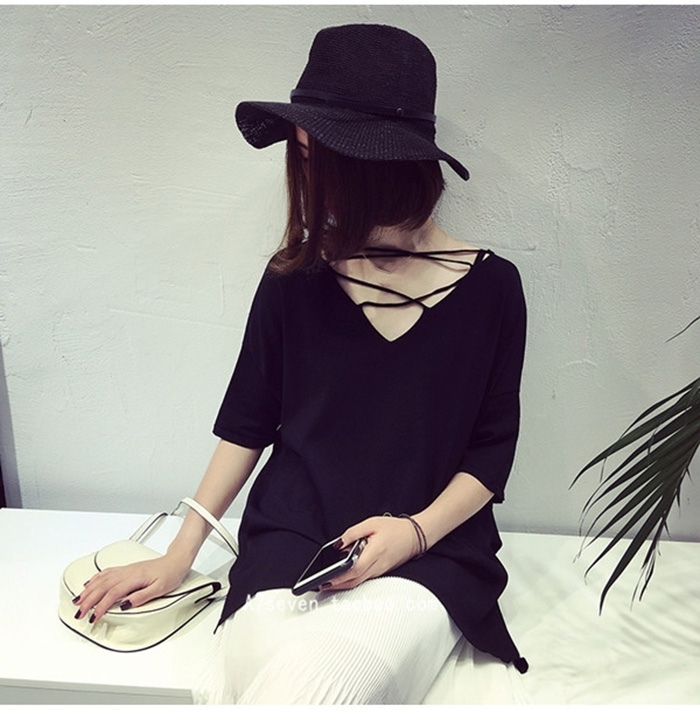A7SEVEN 韓版氣質百搭寬松顯瘦純色短袖針織衫