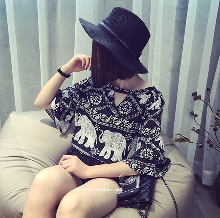 A7SEVEN 韓版複古民族風寬松顯瘦荷葉袖短袖雪紡衫