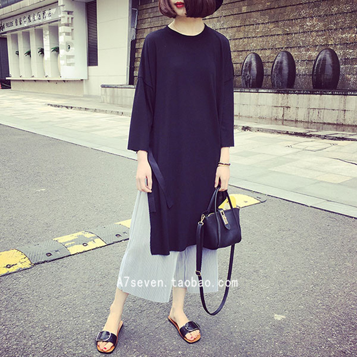 A7seven 韓國氣質寬松中長款開叉針織七分袖T恤女休閑打底連衣裙