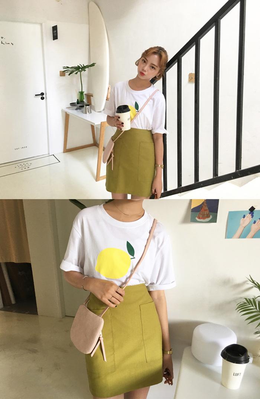 elina sea Seoul純色系大口袋裝飾拉鏈小直筒半身短裙