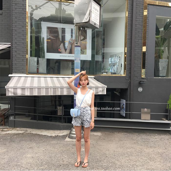 elina sea Summer的清新度假風印花小寬松側拉鏈麻料短褲