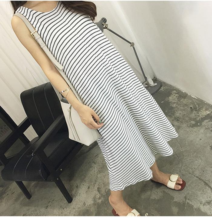 MissTing 條紋針織寬松顯瘦長裙連衣裙
