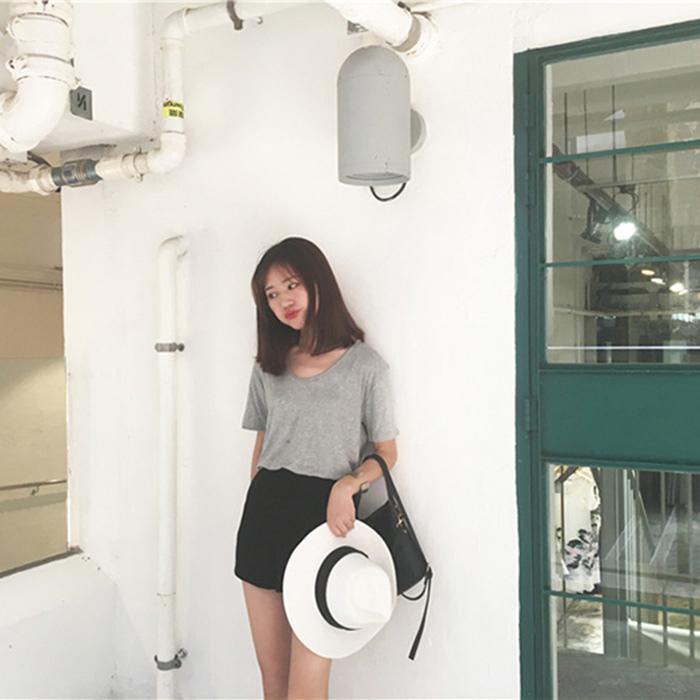 THESUMEY 圓領莫代爾t恤女寬松顯瘦純色簡約絲光棉大碼短袖打底衫上衣