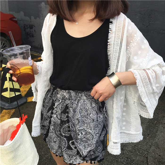 THESUMEY 黑色流蘇民族風雪紡短褲