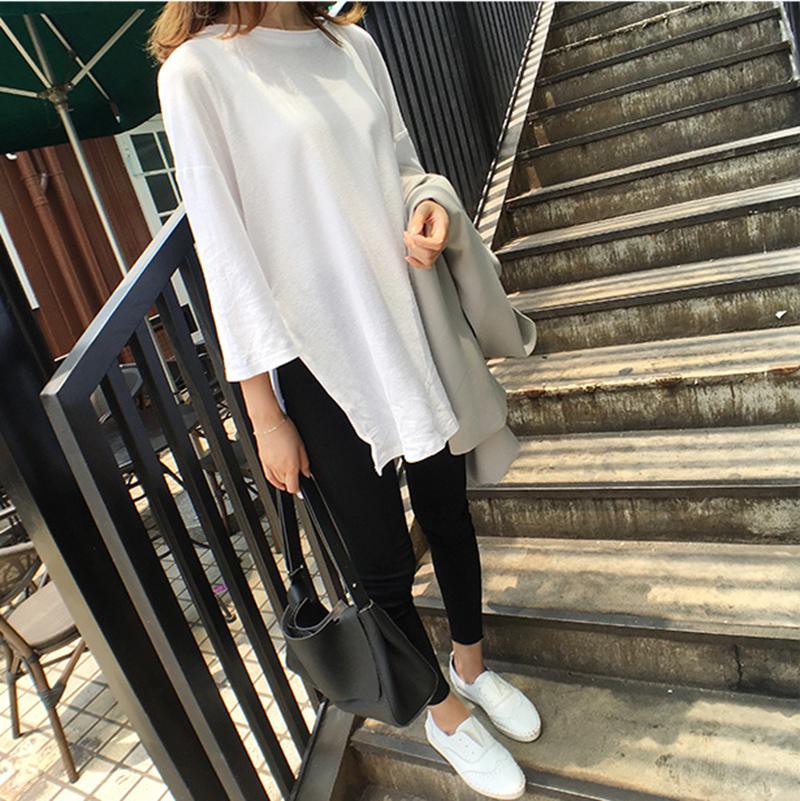 MissTing 百搭寬松顯瘦純色7分袖T恤