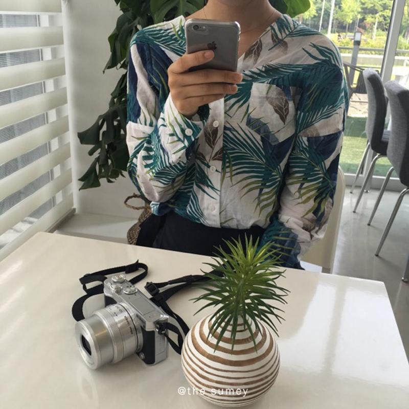 THESUMEY 棉麻彩色樹葉長袖襯衫