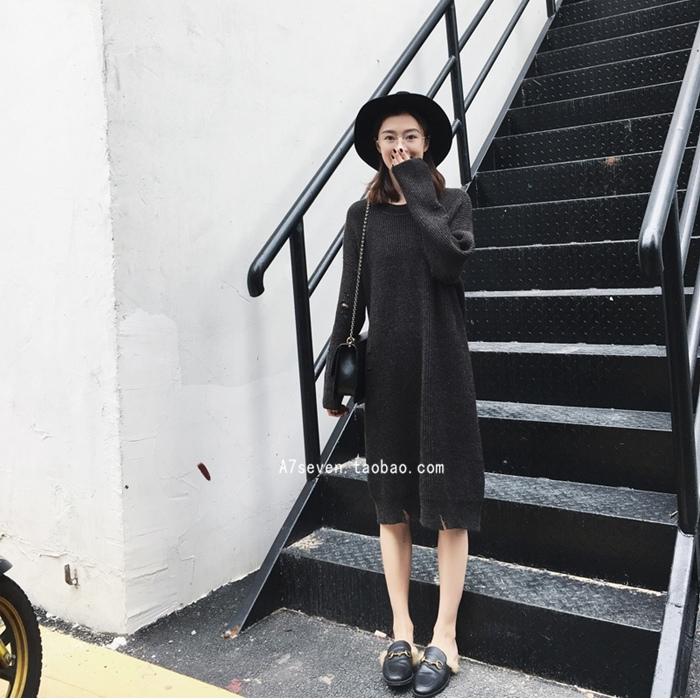 7SEVEN 圓領破損感針織衫連衣裙