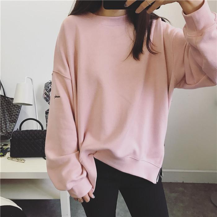 JUSTQ 小刺繡美美粉色拉鏈寬松衛衣