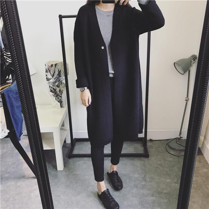 JUSTQ 超洋氣暗扣中長款繭型韓版針織毛衣開衫外套