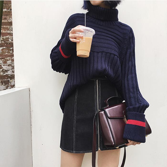 MissTing 冬季高領套頭條紋長袖針織衫毛衣