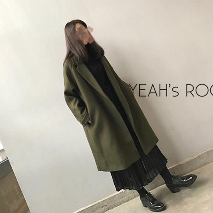 YEAH 羊絨繭型顯瘦過膝加厚加絨中長款呢大衣外套